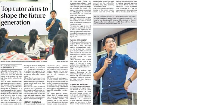 The Straits Times - Top Tutor Aims To Shape The Future Generation